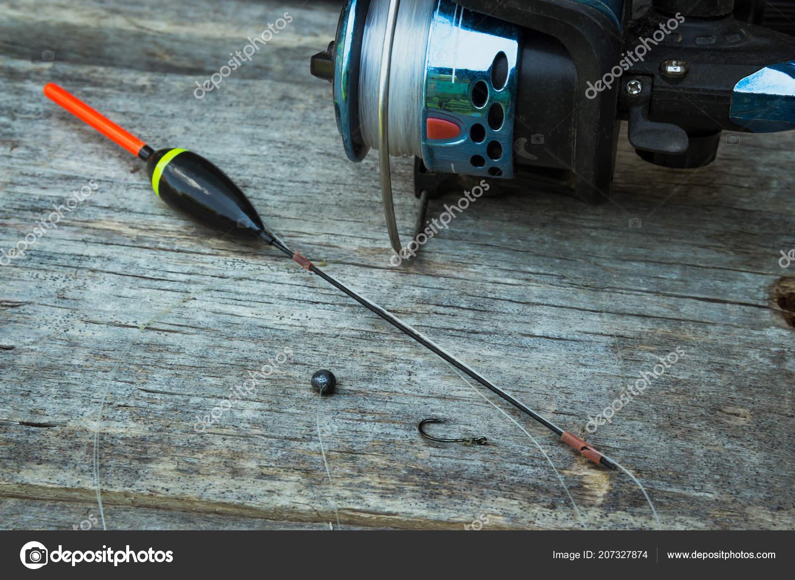 Fishing Tackle Float Fishing Line Sinker Hook Old Wooden Boards