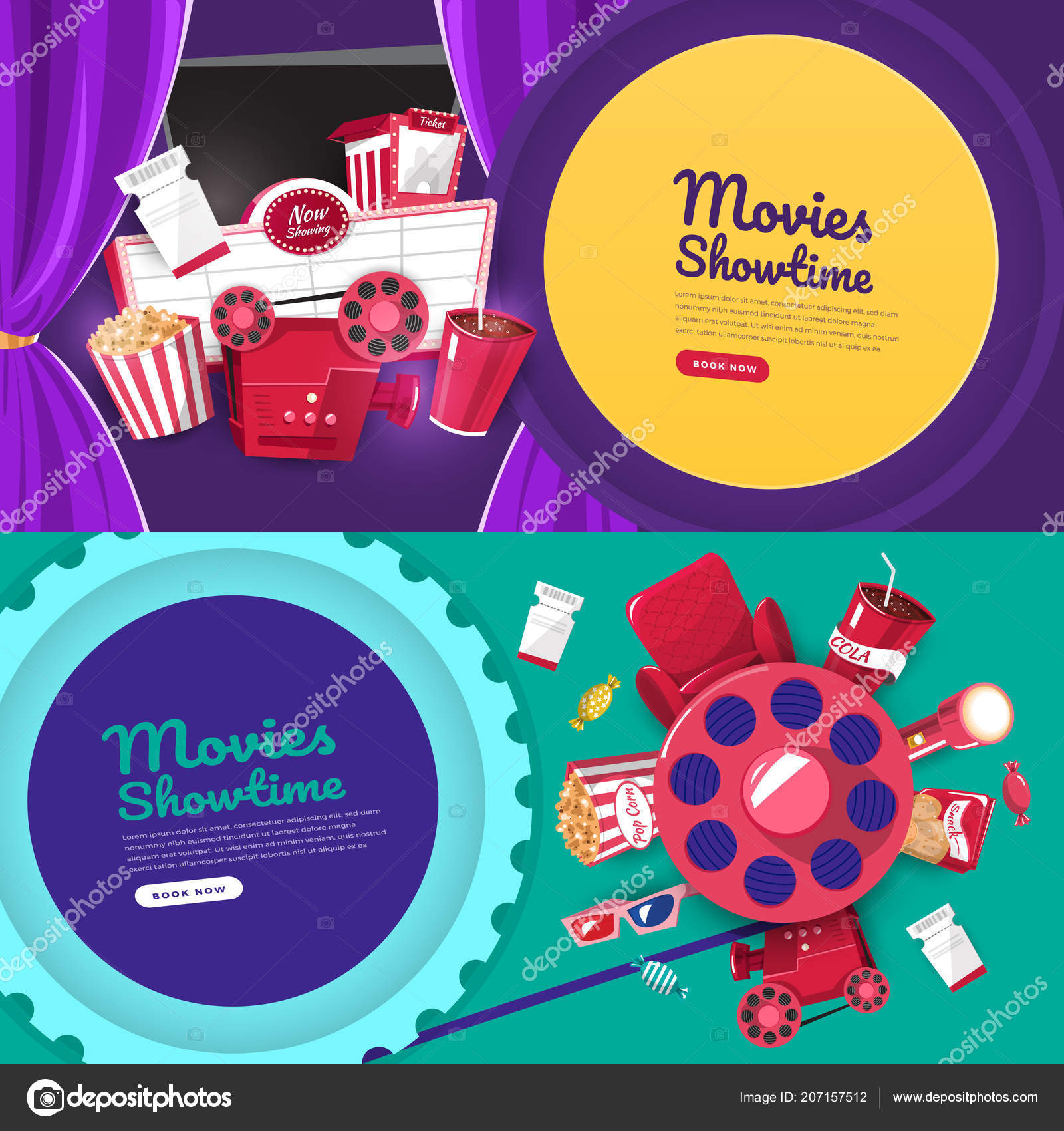 Flat Design Concept Movie Cinema Show Time And Theater Banner Website Template Poster Brochure Layout Vector Illustrations By Emojoez