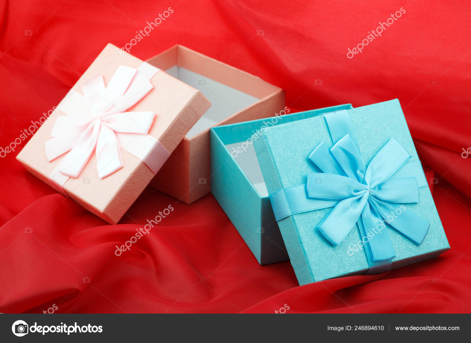 Two Boxes Presents Red Background Celebration Birthday Stock Photo