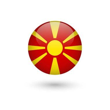 Macedonia flag round glossy