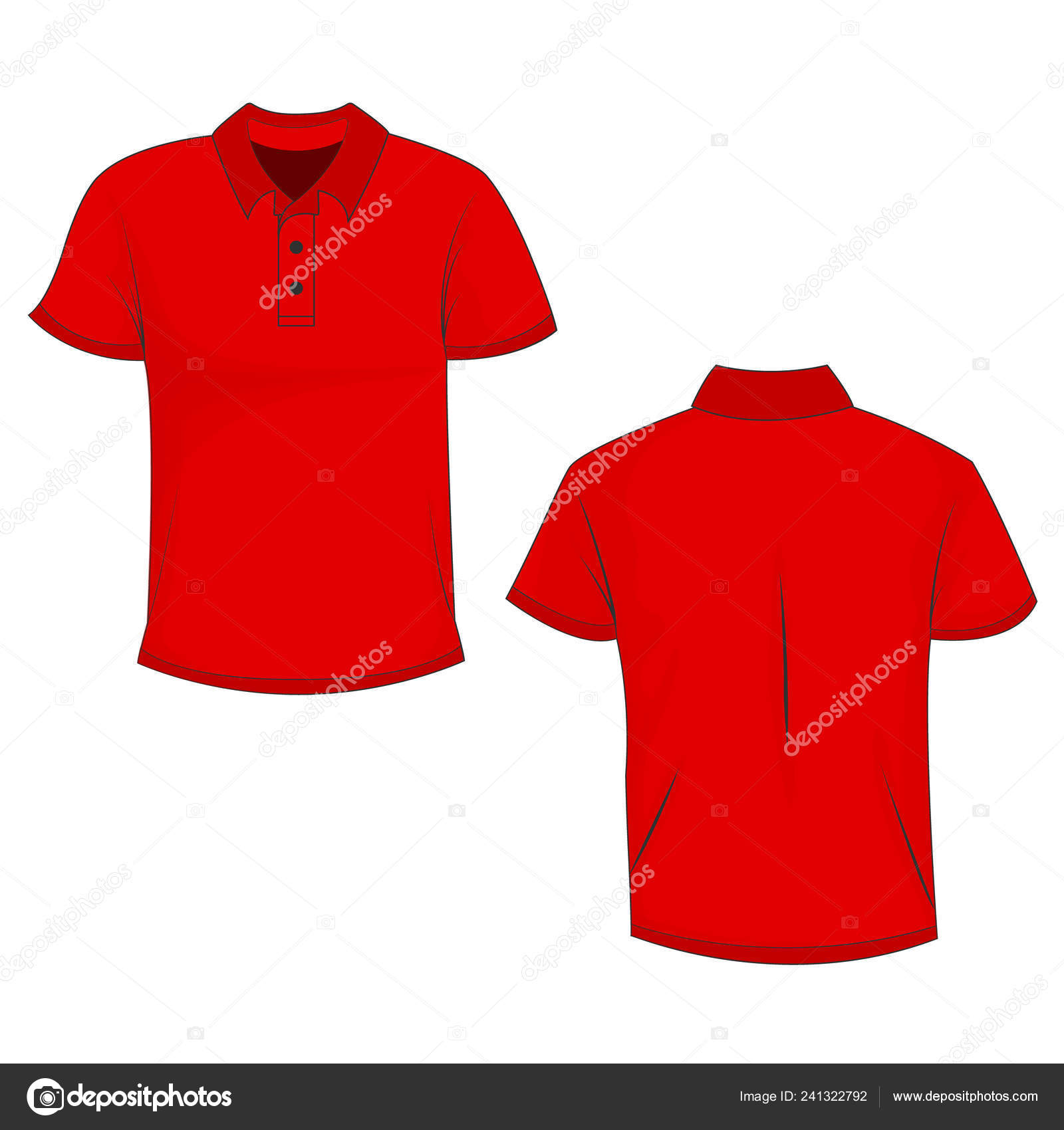 Red Polo Shirt Mock Front Back View Isolated White Background