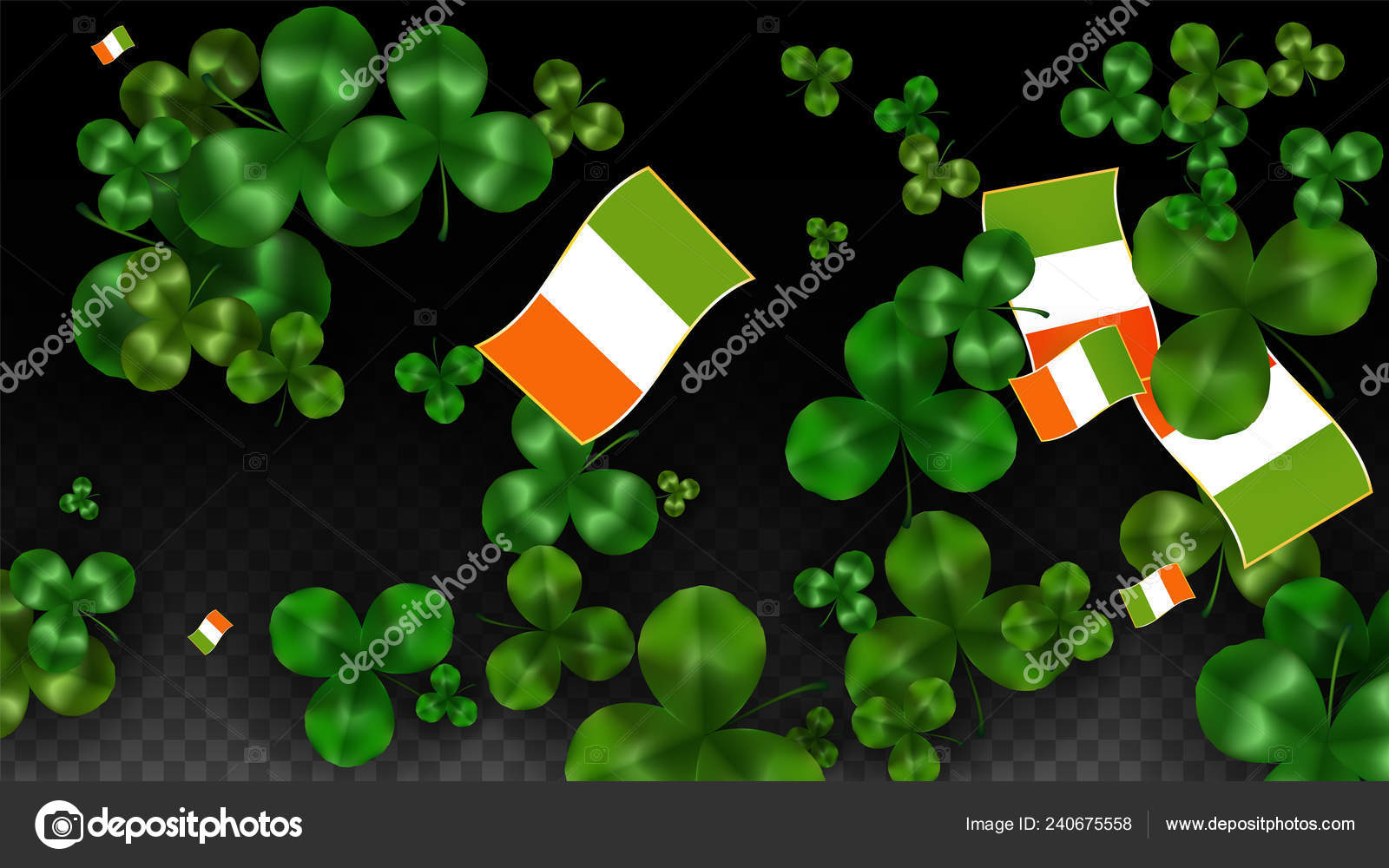 d496752e9661 Vector Clover Leaf and Ireland Flag Isolated on Transparent Background. St.  Patrick s Day Illustration. Ireland s Lucky Shamrock Poster.