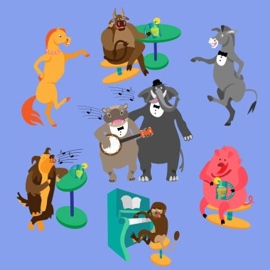 Party animals illustration