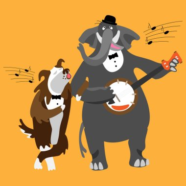 Singing dog and elephant with banjo