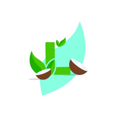 Leaf nature font badge art gradient shadow numbers ampersand round design letters green coconut