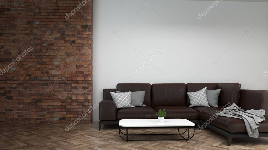 Modern sofa in empty room interior background home designs 3d rendering , in front of wall empty wall objects home decoration luxury living home stock vector
