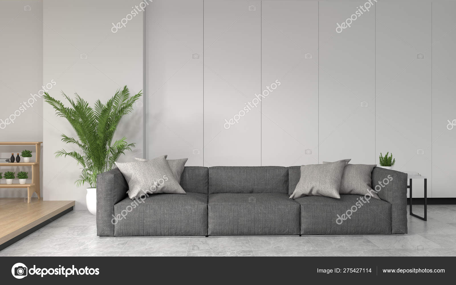 Sofa Front Simple White Wall Decorative Items Empty Room Open Stock Photo C 7966cherry 275427114