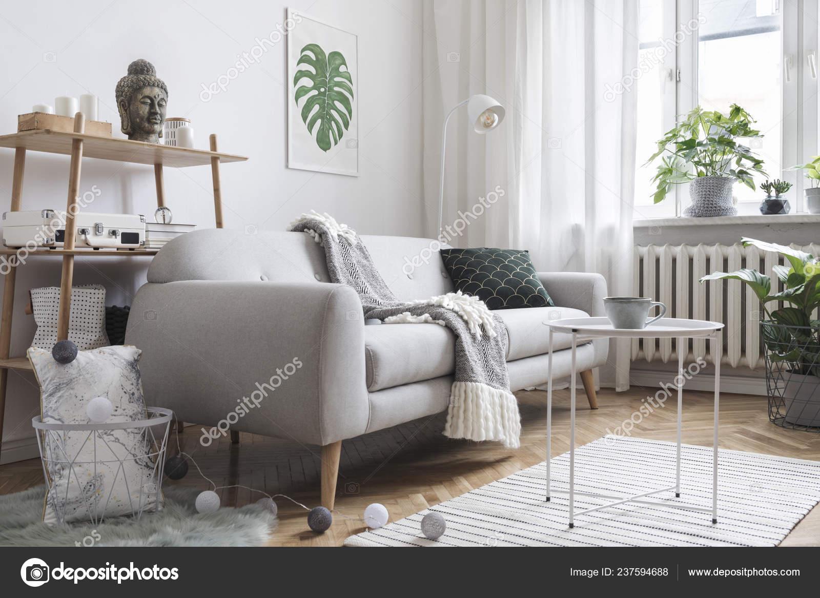 Stylish Light Living Room Interior Grey Sofa Scandinavian Style ...