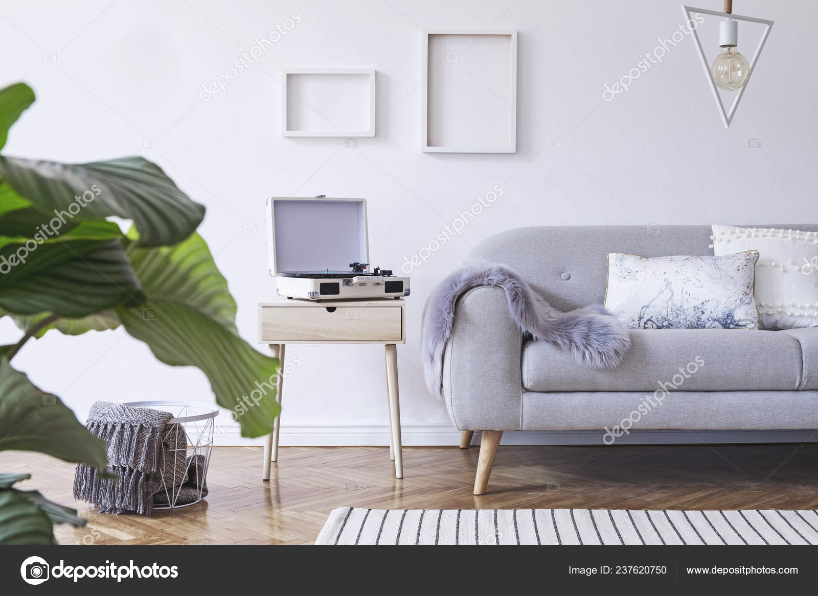 Picture of: Partial View Light Living Room Grey Sofa Scandinavian Style Stock Photo C Followtheflow 237620750