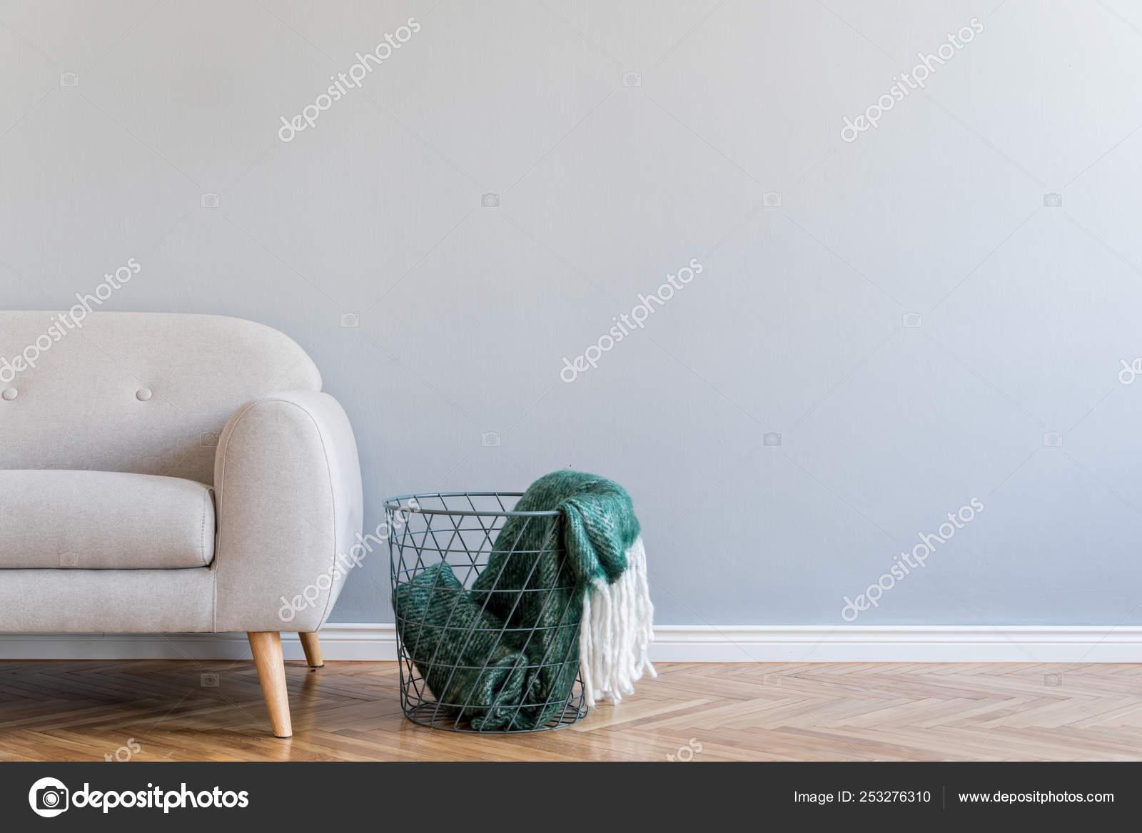 Grey Sofa Scandinavian Style Soft Blanket Basket Stock Photo C Followtheflow 253276310