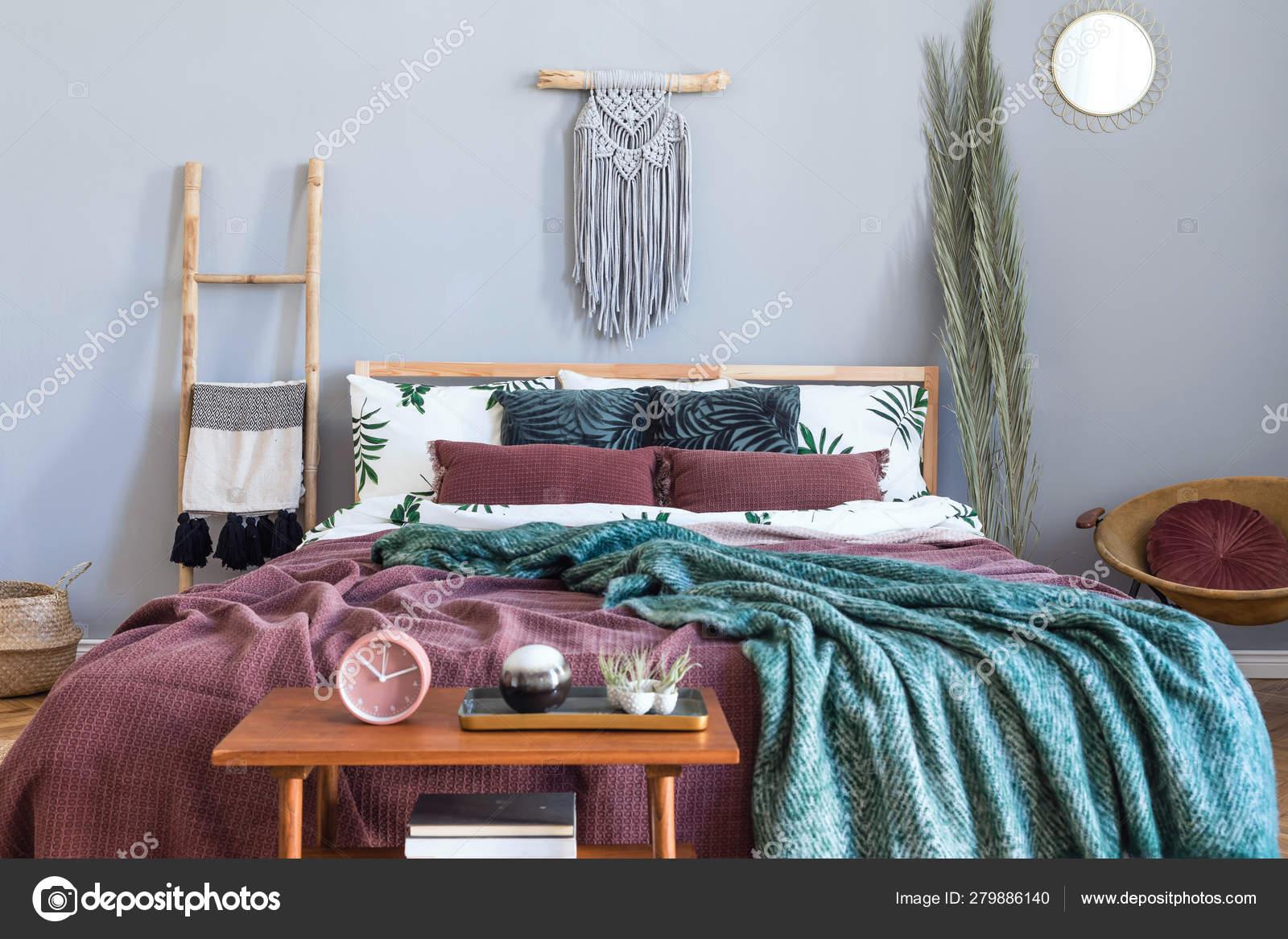 Modern Luxury Interior Bedroom Design Furnitures Stylish Macrame Wooden Ladder Stock Photo C Followtheflow 279886140