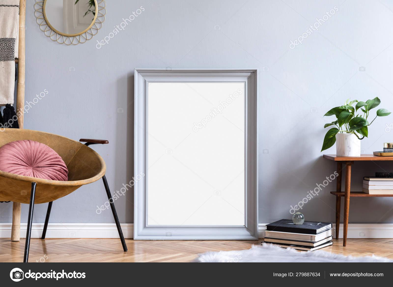 Stylish Luxury Interior Design Honey Yellow Armchair Gray Mock Frame Stock Photo Image By C Followtheflow 279887634