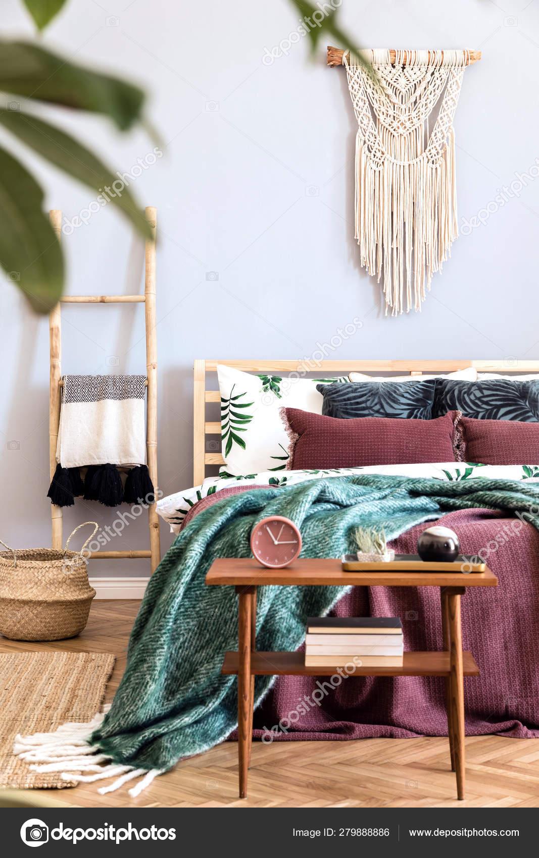 Modern Luxury Interior Bedroom Design Furnitures Stylish Macrame Wooden Ladder Stock Photo Image By C Followtheflow 279888886