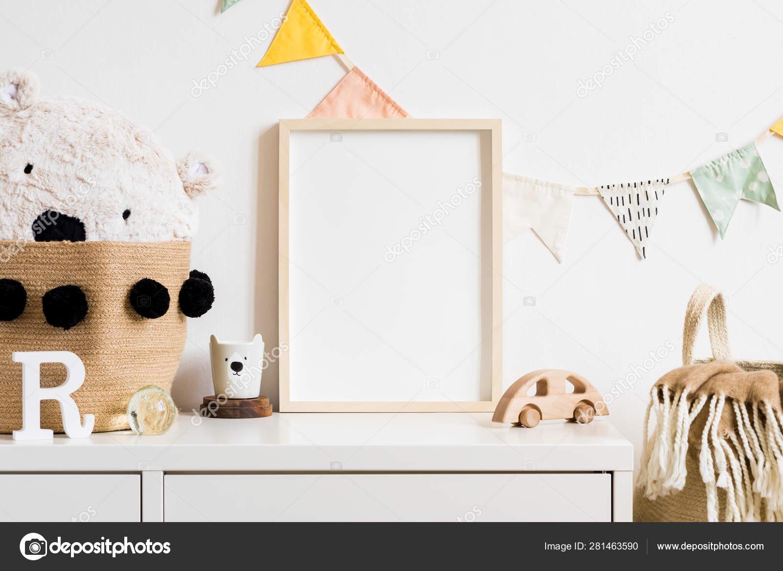Stylish Scandinavian Nursery Interior White Teddy Bear Wooden Toys Cup Stock Photo Image By C Followtheflow 281463590