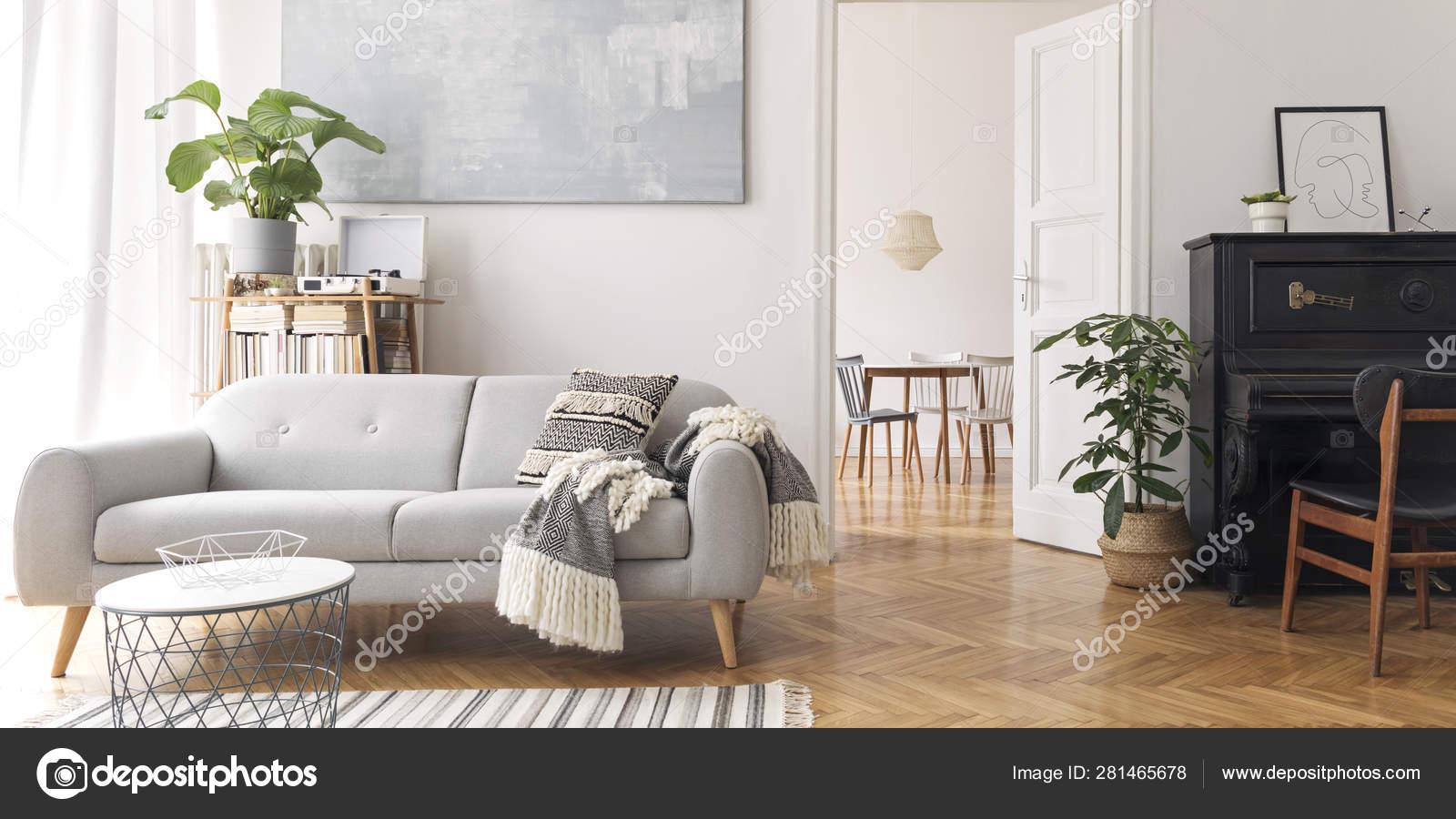 Modern Scandianvian Decor Living Room Design Sofa Elegant Blanket Coffee Stock Photo Image By C Followtheflow 281465678