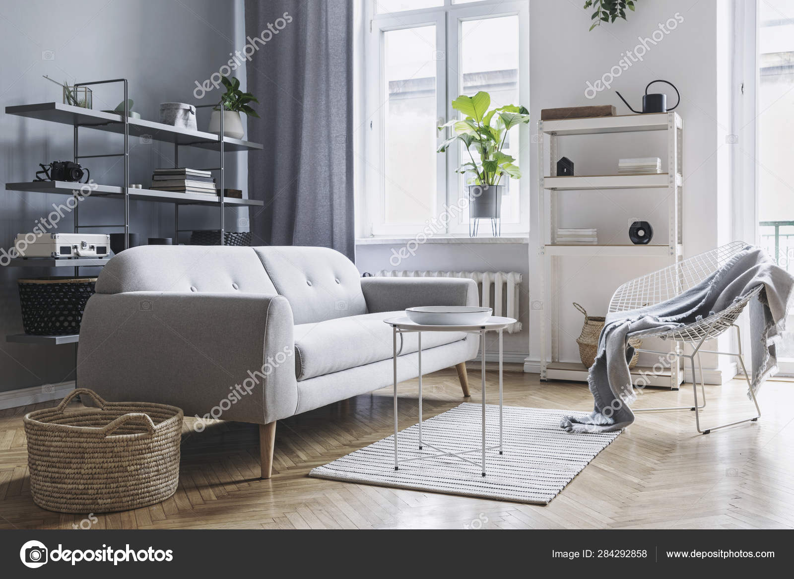Modern Bright Nordic Living Room Design Sofa Coffee Table Plants Stock Photo Image By C Followtheflow 284292858