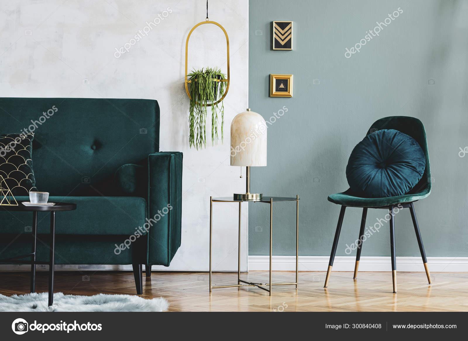 Stylish Luxury Interior Design Living Room Green Velvet Sofa Design Stock Photo C Followtheflow 300840408