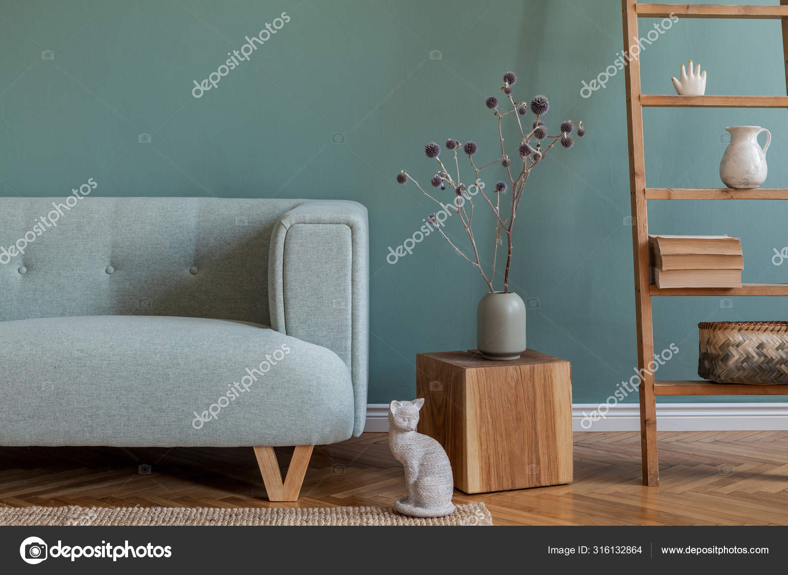Stylis Composition Living Room Interior Apartment Mint Sofa Wooden Ladder Stock Photo C Followtheflow 316132864