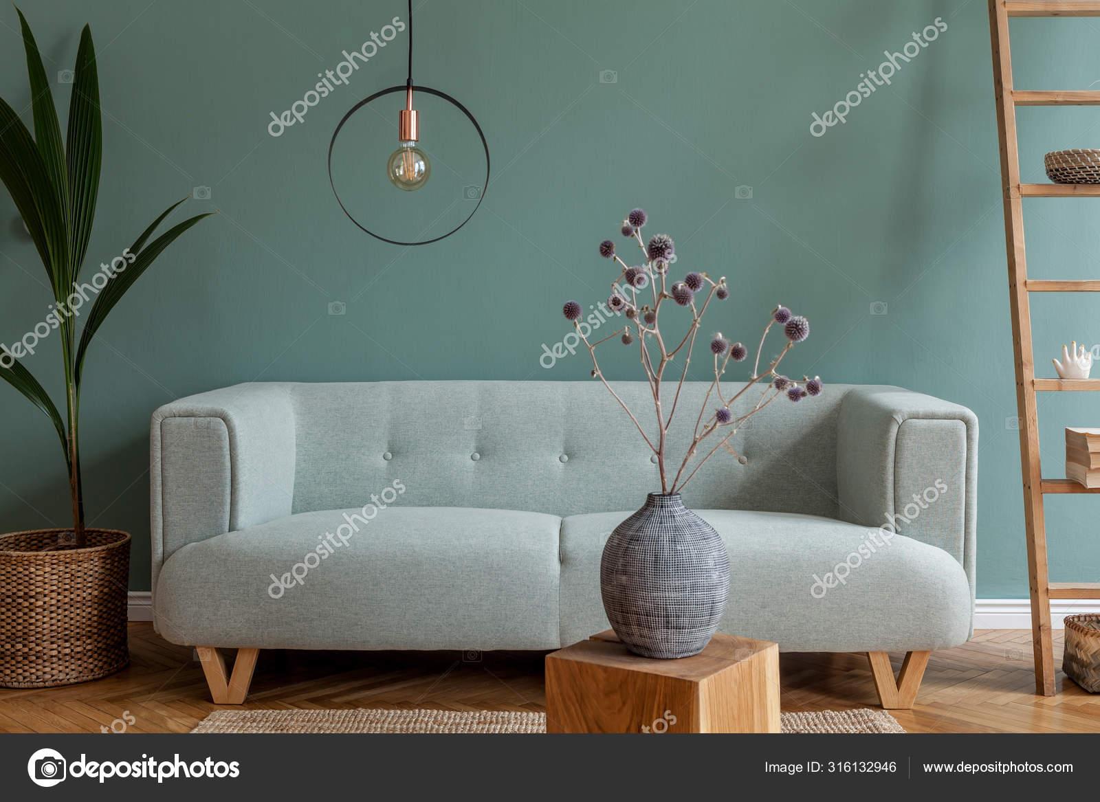 Modern Composition Living Room Interior Apartment Mint Sofa Wooden Ladder Stock Photo C Followtheflow 316132946