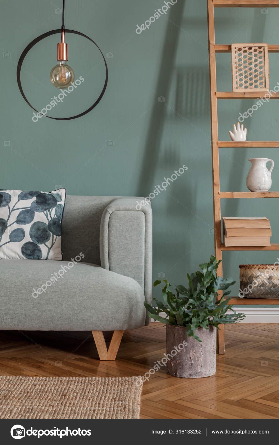 Modern Composition Living Room Interior Apartment Mint Sofa Wooden Ladder Stock Photo C Followtheflow 316133252