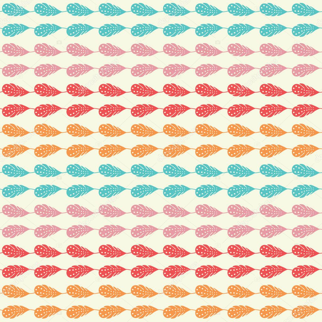 Vector rainbow feathers stripe seamless repeat pattern background.