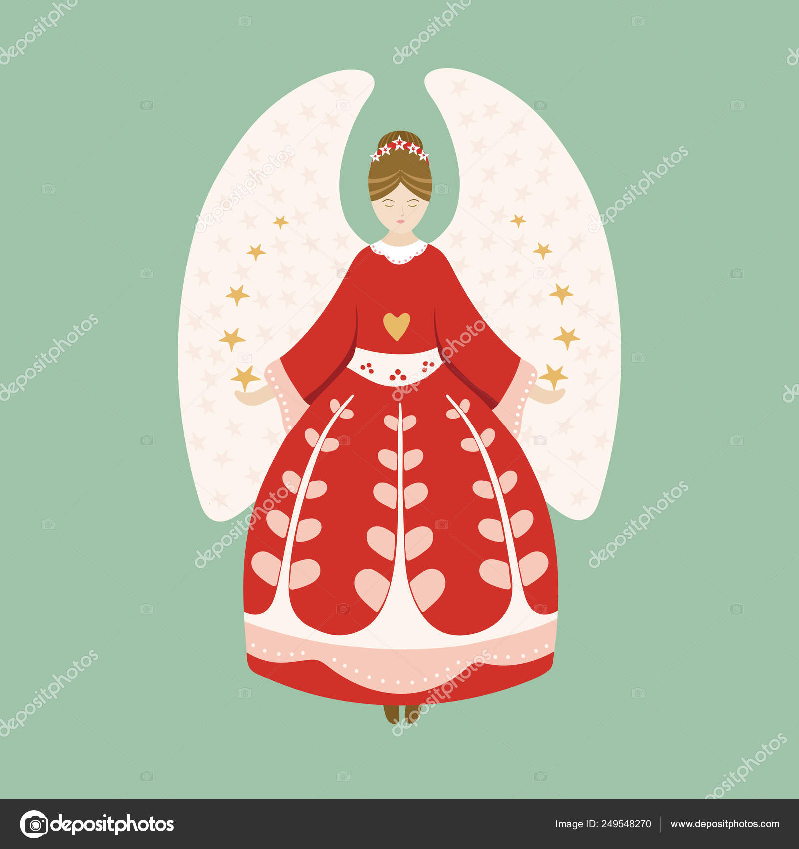 Vector vintage Christmas angel illustration. Pretty illustration perfect for christmas card, decorations and prints