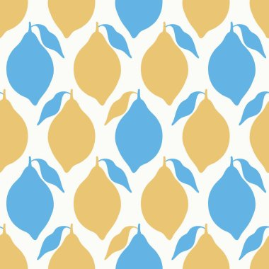 Stylized lemon geometric seamless pattern in yellow and blue. A simple tropical fruit vector repeat design background.