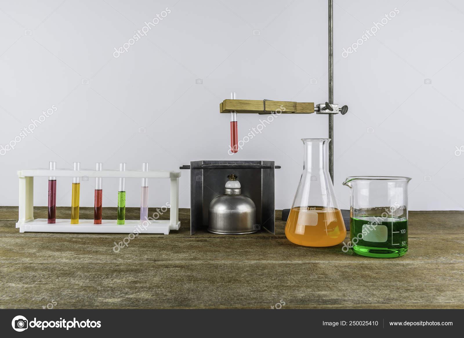 Laboratory equipment test tube holder and alcohol lamp, test tub
