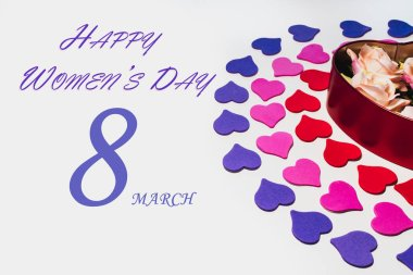 International Women's Day, Heart shape. March 8