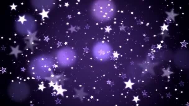 Barevný animovaný zářící hvězdy částic pozadí - Loop fialová
