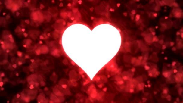 Lüktető szív alakú, és a háttérben animáció - hurok piros