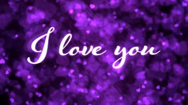 Lüktető animált szeretlek szöveg és a háttér animáció-loop Purple