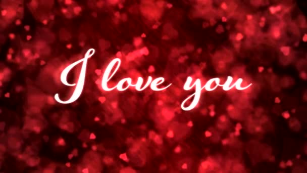 Pulsing animated I love you text and Background Animation - Loop Red