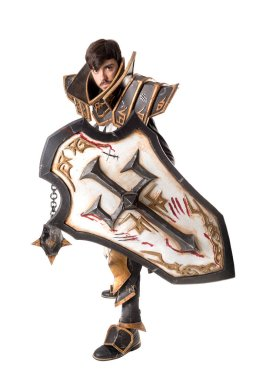 Young man cosplaying with fantasy knight costume stock vector