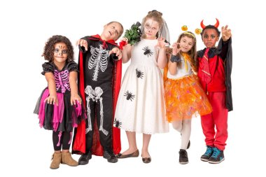 Kids with face-paint and Halloween costumes isolated in white stock vector
