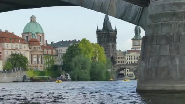 Prague, Czech Republic - May 7, 2018: Charles Bridge. The Vltava River. View on Vltava river and Charles bridge Beautiful view of Prague.