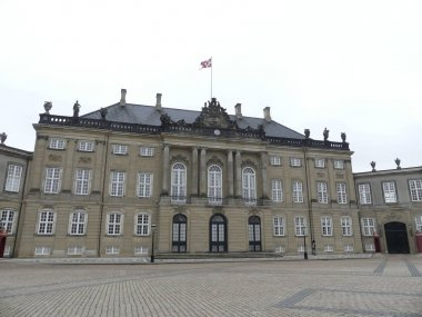 View of the Royal Palace Amalienborg. Square in front of the pal