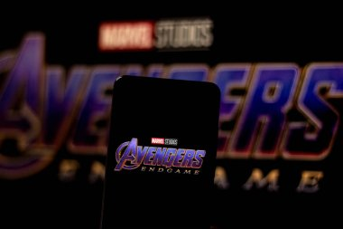 April 3, 2019, Brazil. Avengers Endgame logo on the mobile device screen. Avengers: Endgame is a superhero movie produced by Marvel Studios and distributed by Walt Disney Studios Motion Pictures