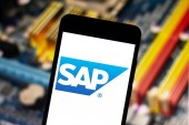 April 25, 2019, Brazil. SAP logo on the mobile device. SAP is a company of German origin, creator of software of management of companies