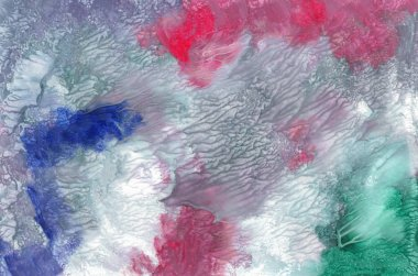 Hand-drawn texture, monotype, abstract background gouach painting, paint splashes, drops, strokes in grey, blue, red , green colors. Design for backgrounds, wallpapers, covers and packaging.