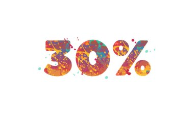 30 percent - typography inscription with multicolored spots of paint in red, yellow, teal colors on white background.
