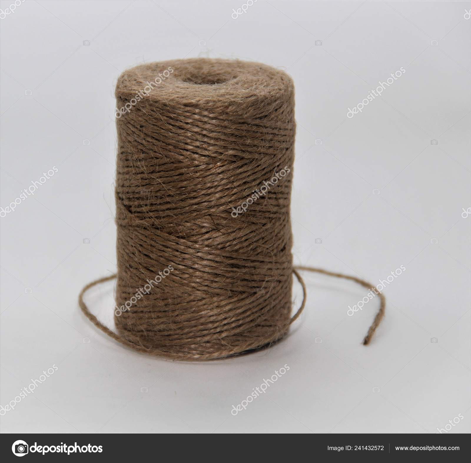 Decorative Jute Rope White Background — Stock Photo