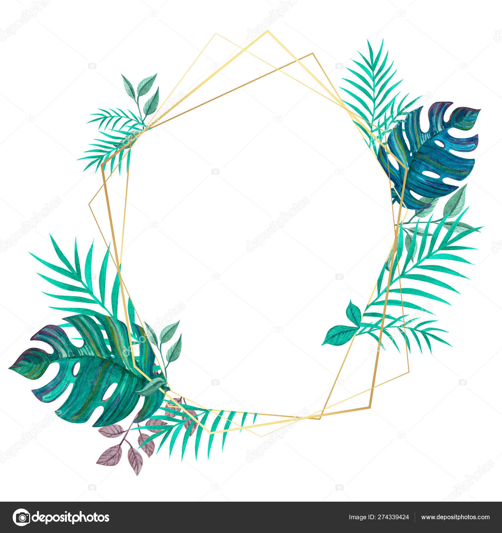 Tropical Leaves Geometric Gold Frame Freehand Drawing Stock Photo C Anana Go 274339424 Modern green tropical plant leaves canvas art print poster , nordic green plant wall pictures kids room large painting no frame. tropical leaves geometric gold frame freehand drawing stock photo c anana go 274339424