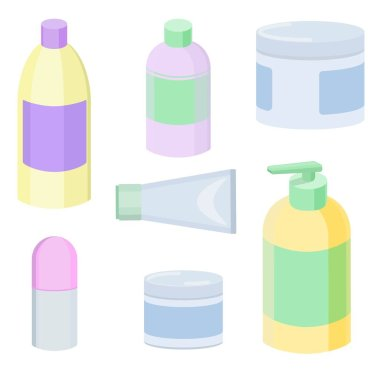 Vector illustration of different cans and bottles with cosmetics icon