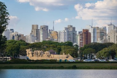 Bandeiras Monument, Ibirapuera Park and city skyline - Sao Paulo, Brazil