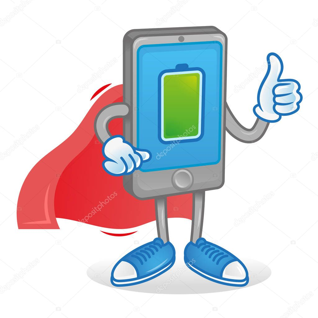 Digital Icon New Smartphone Tablet Show Thumb Up Phone Superhero In Red Cloak With Full Percentage Of Charge Accumulator Battery Energy Excellent Condition Work Modern Illustration Cartoon Character Premium Vector In