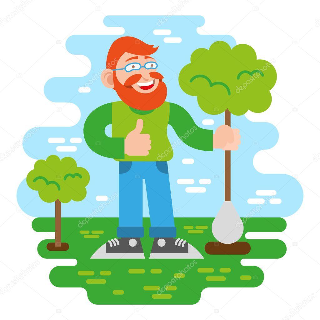 Volunteer keep green tree