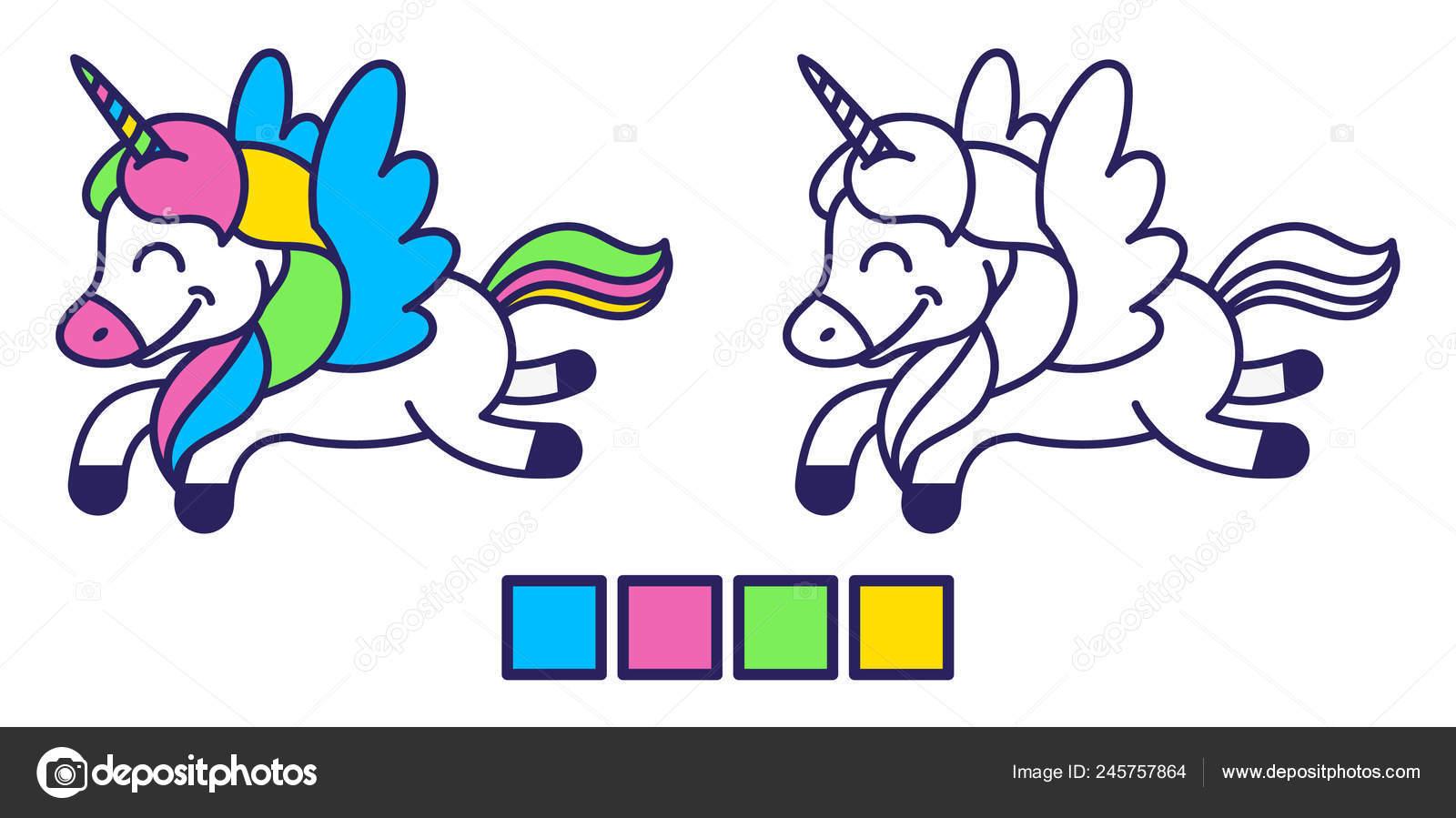 Unicornio Para Colorear Diseño Vector De Stock Dovbush94