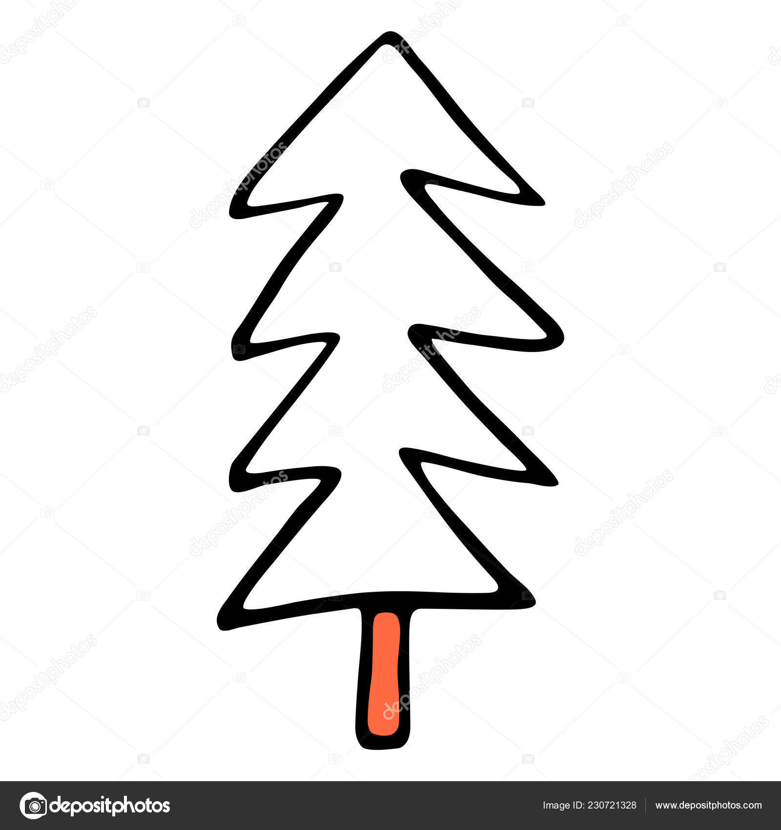 drawing christmas tree spruce fir drawn hand easy quick sketching  drawing of a christmas tree spruce or fir drawn by hand easy and quick sketching or technique imitating children s drawing design graphic element is