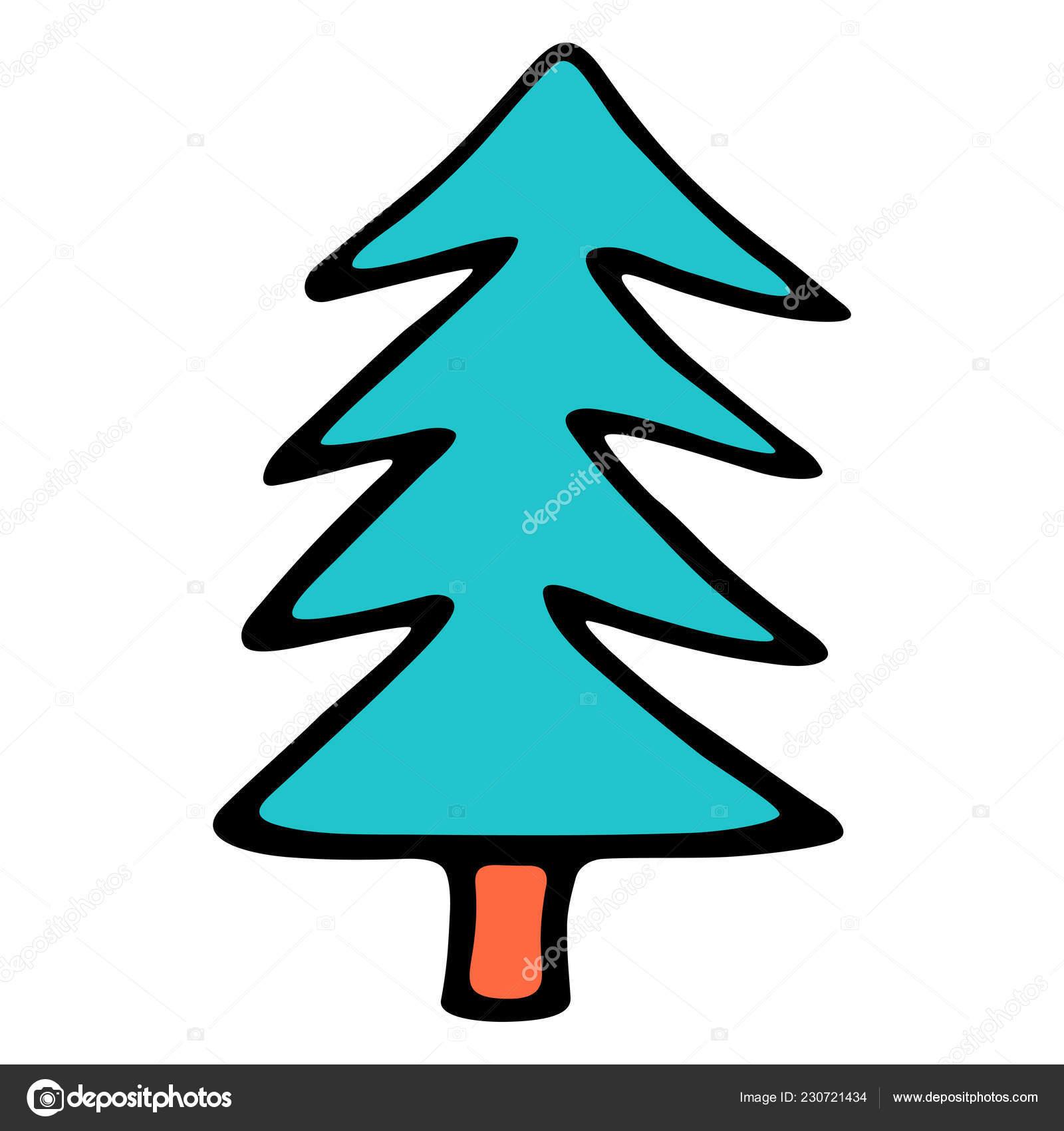 Disegno Albero Natale Abete Abete Disegnati Mano Facile Rapido